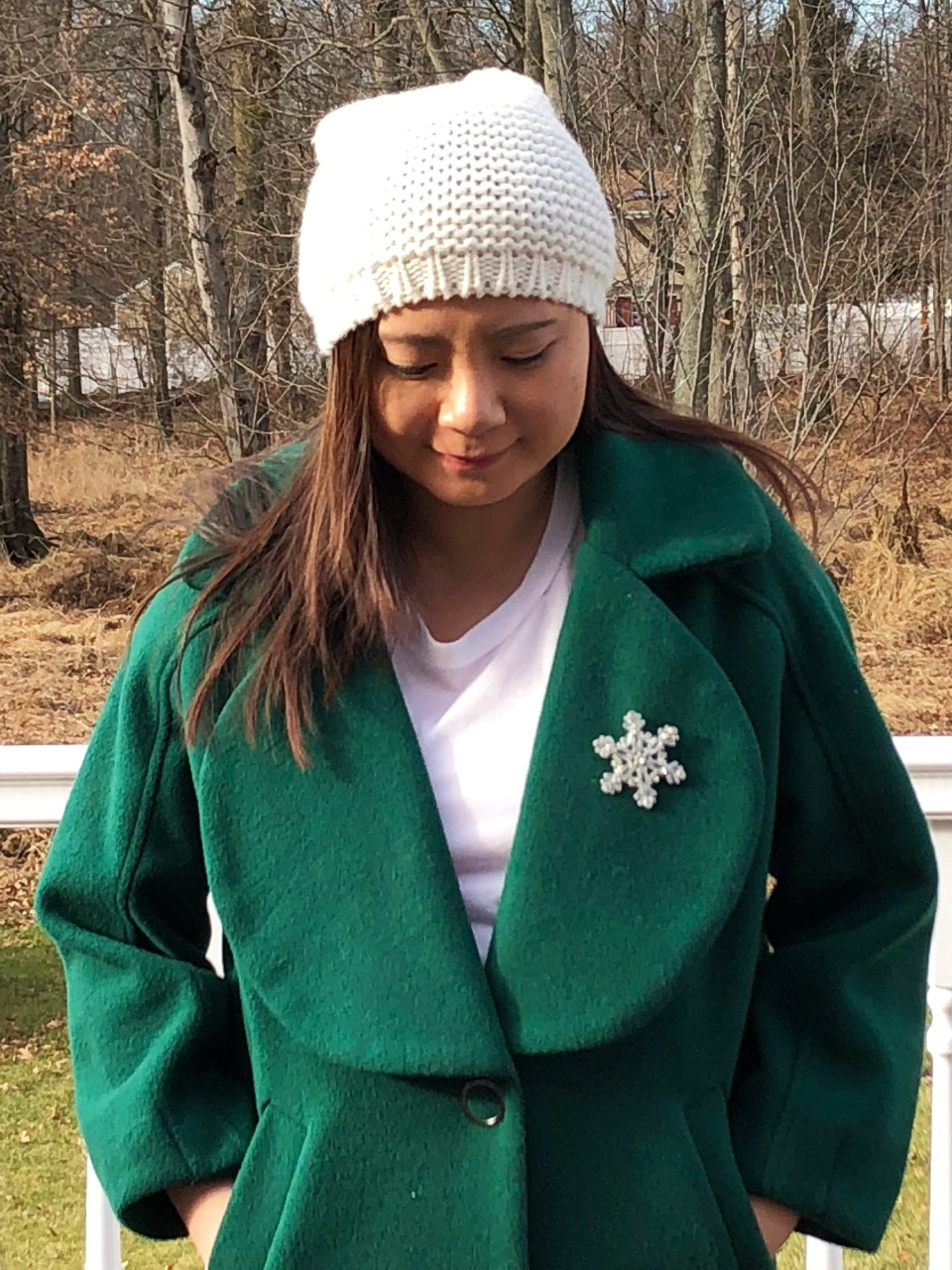 Green Lapel Coat + Snowflake Brooch 3