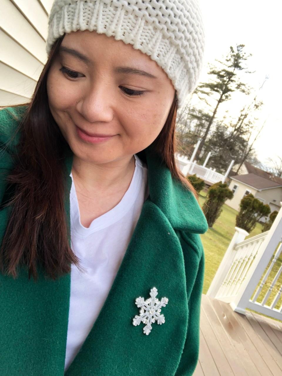Green Lapel Coat + Snowflake Brooch 7