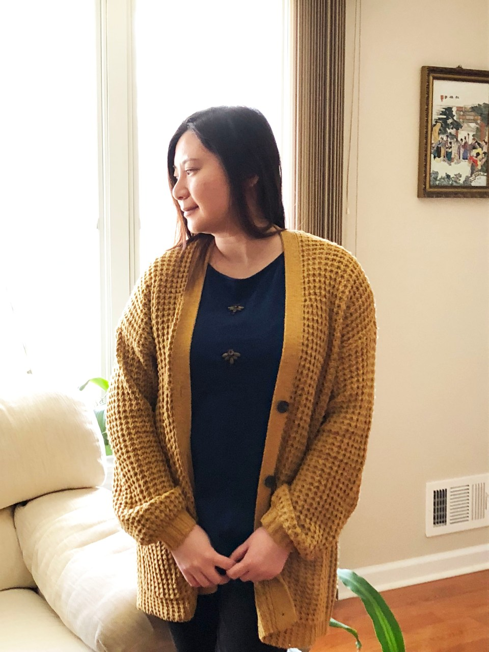 Mustard Waffle Knit + Bee Embellished Top 5