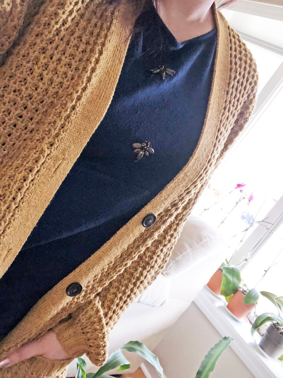 Mustard Waffle Knit + Bee Embellished Top 9