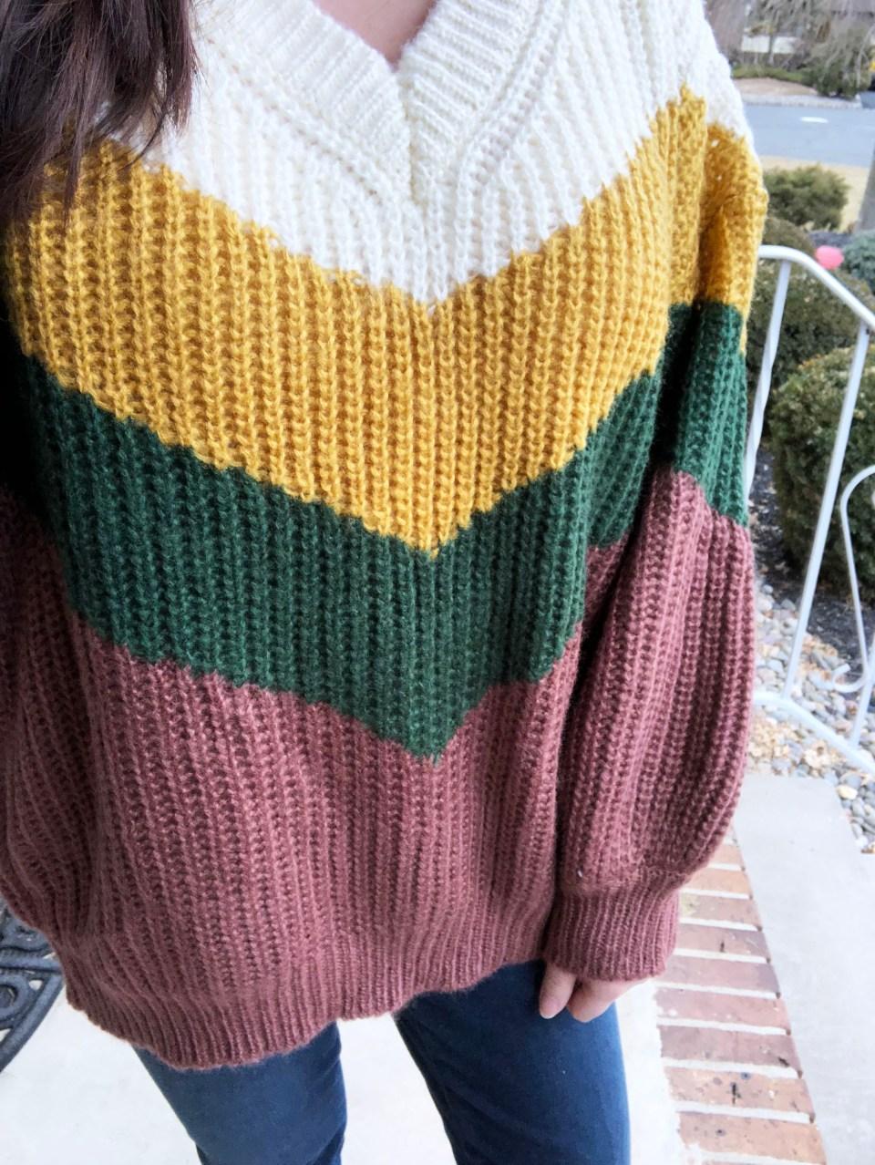Colorblock Chevron Sweater 10