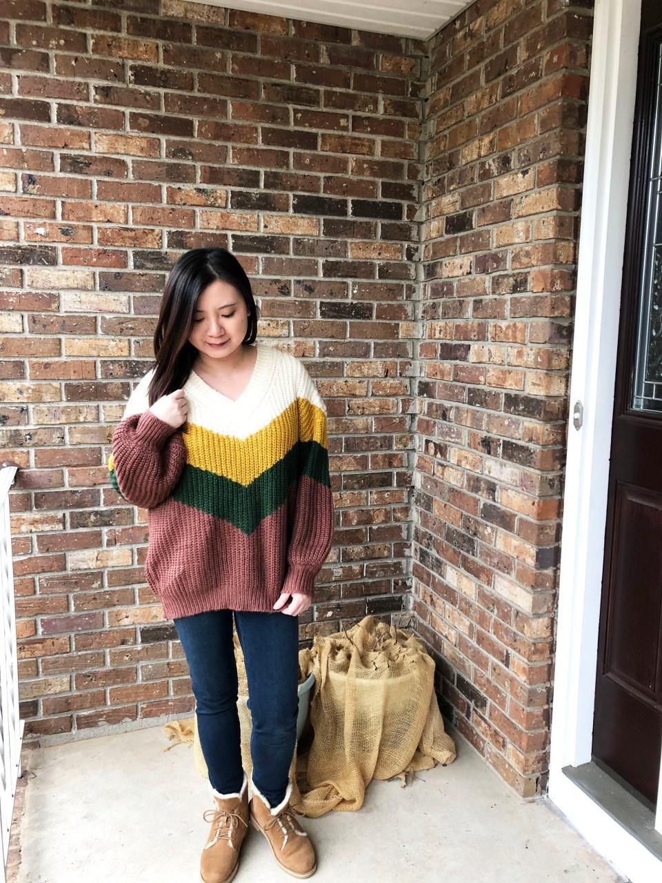 Colorblock Chevron Sweater