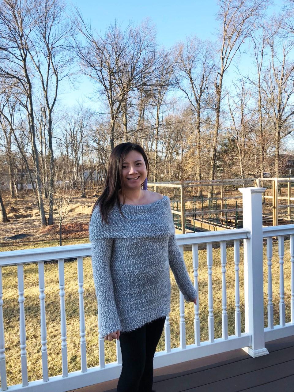 Grey Eyelash OTS Sweater 6