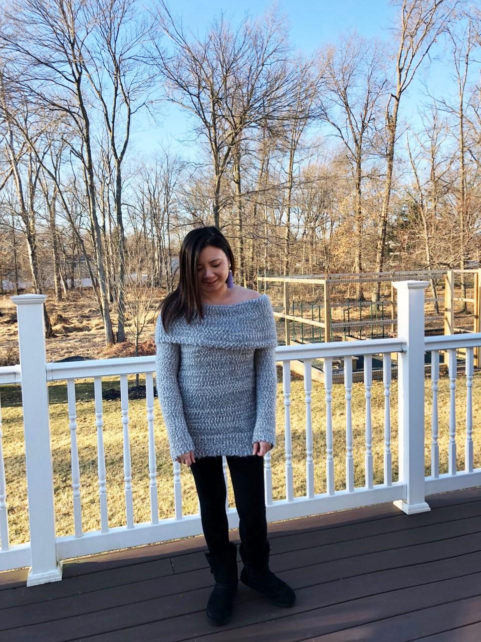 Grey Eyelash OTS Sweater 7