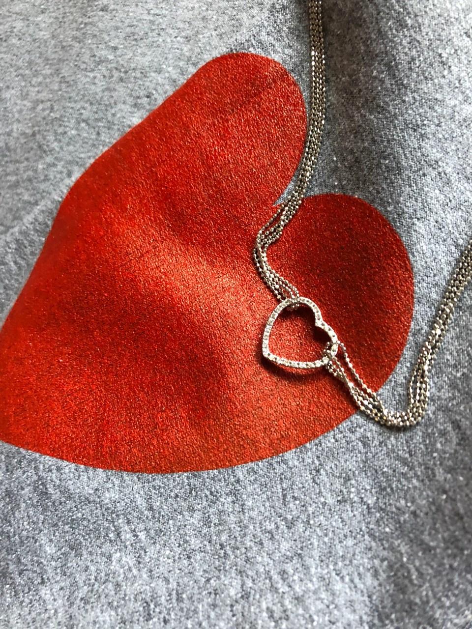 Heart Pendant + elbow heart sweatshirt