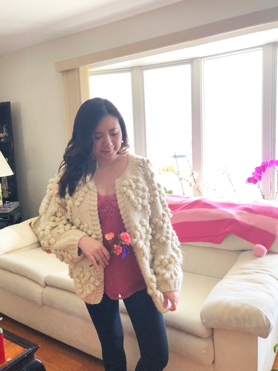 Lace Dot Cami + Heart Pompom Cardigan