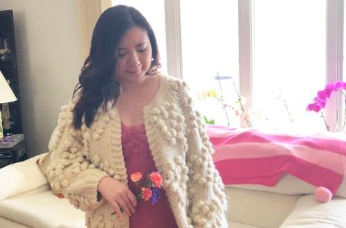 Lace Dot Cami + Heart Pompom Cardigan