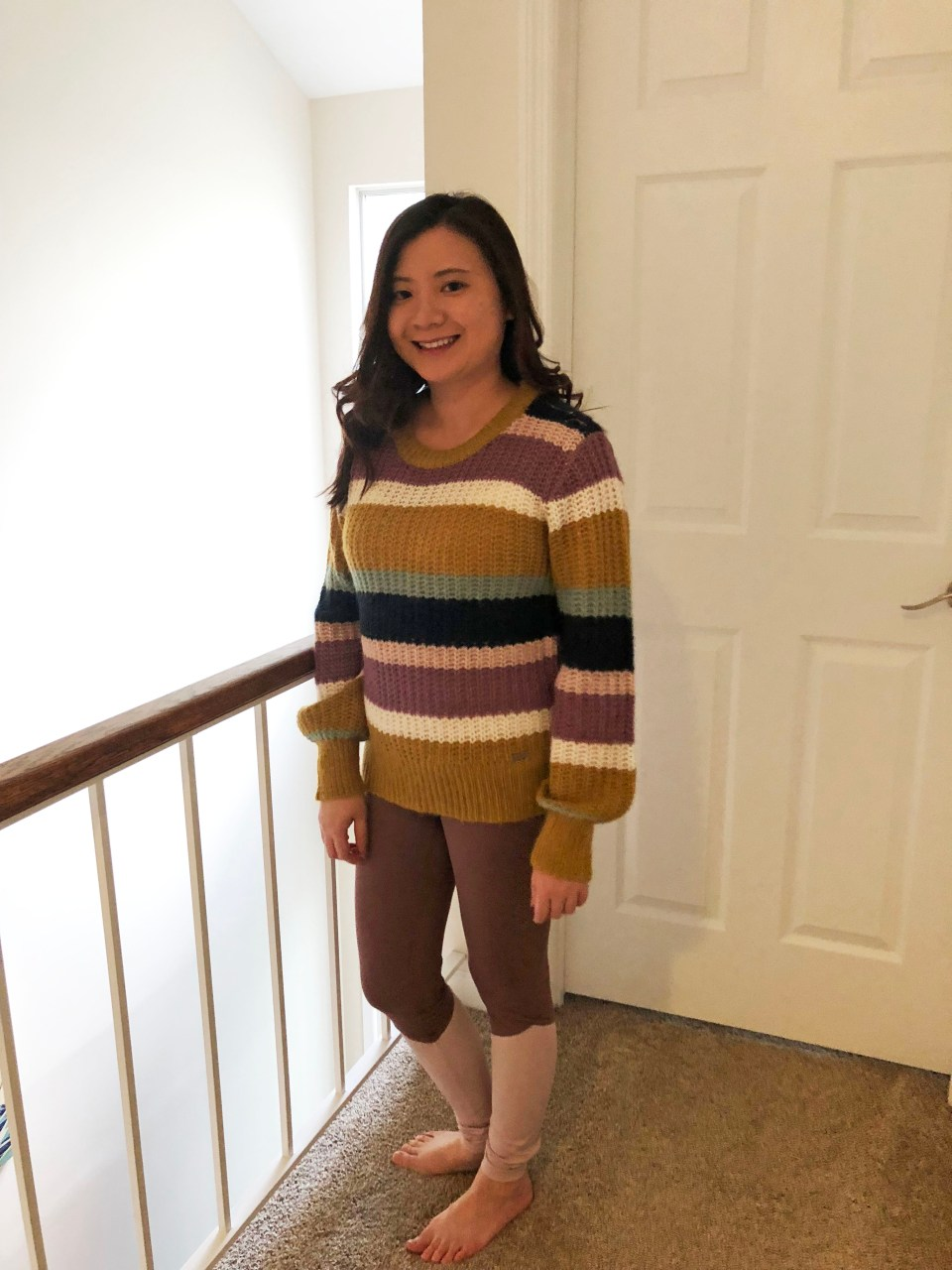 Lofty Puff Sleeve Striped Sweater 4