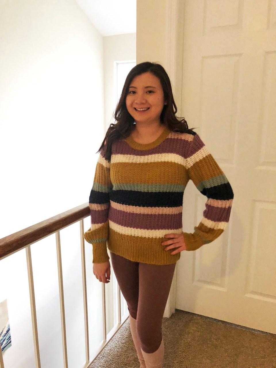 Lofty Puff Sleeve Striped Sweater 9