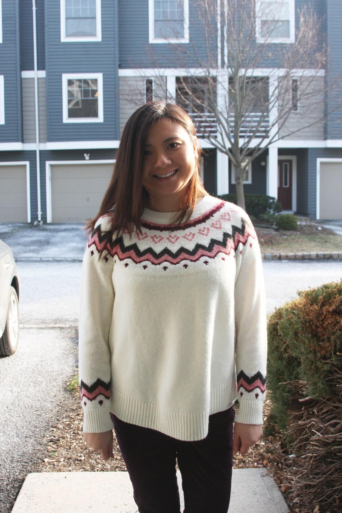 Pink Melange Fairisle Sweater