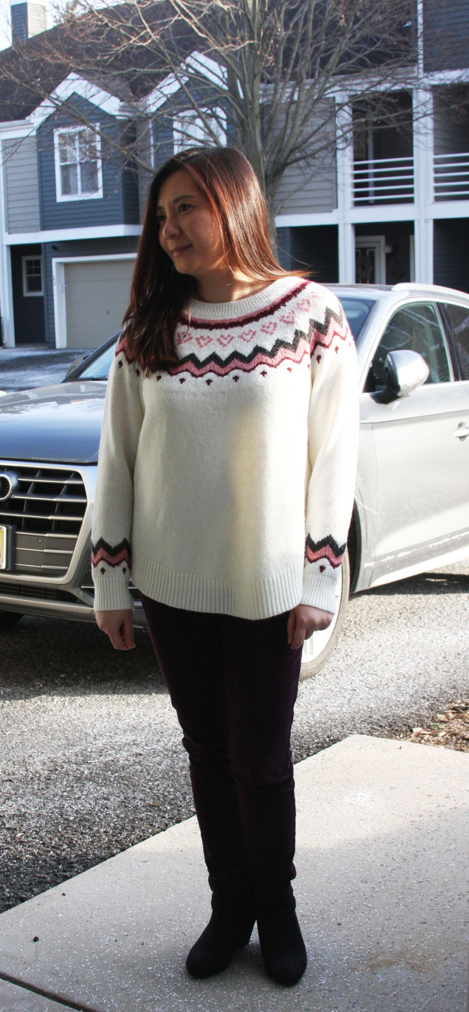 Pink Melange Fairisle Sweater