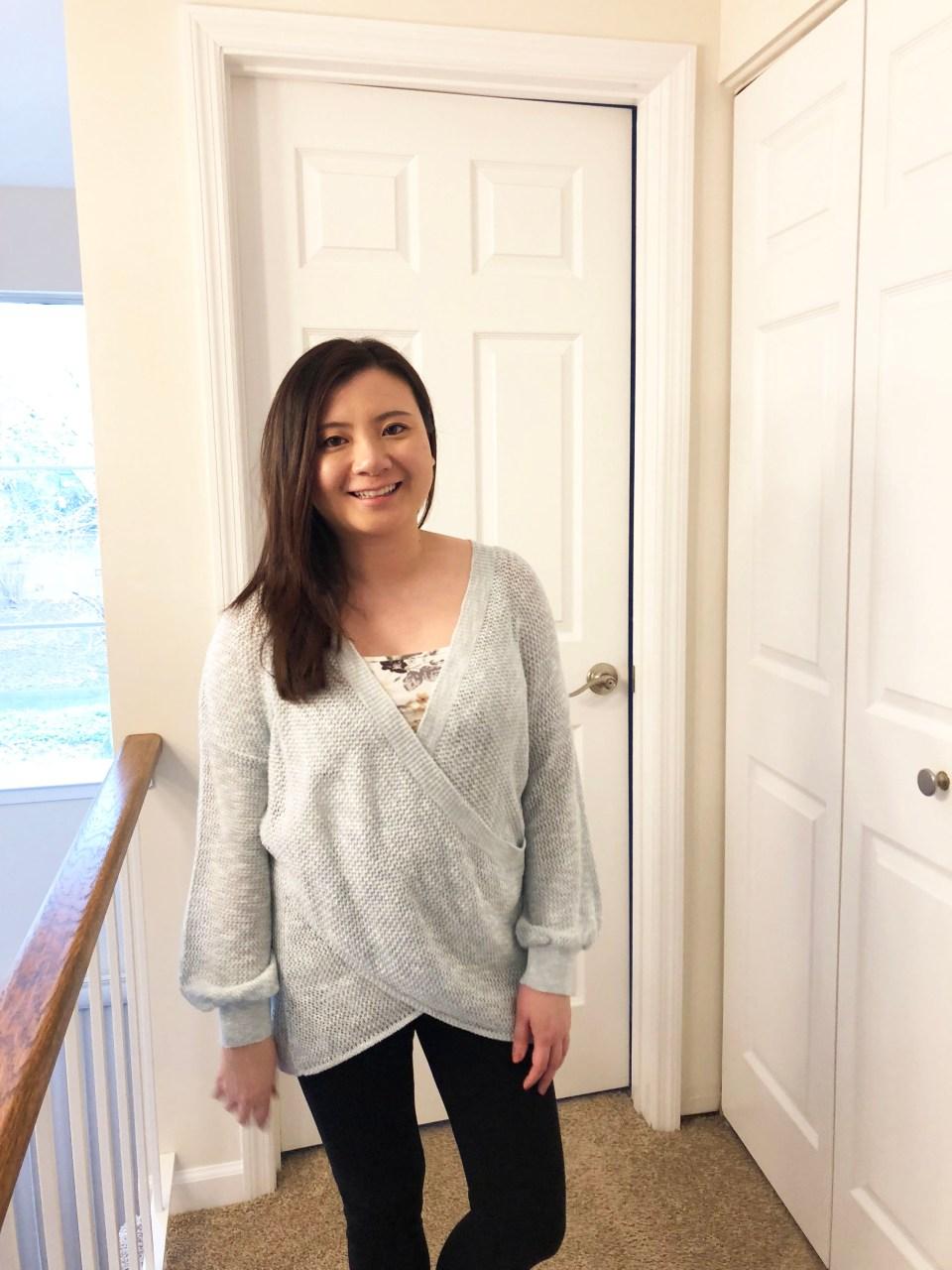 Light Blue Wrap Sweater 2