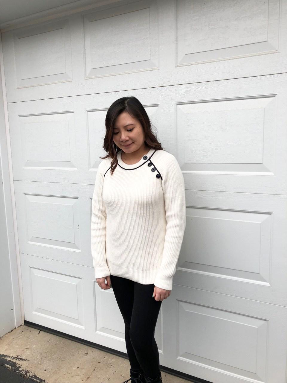 Piped Button Trim Sweater 4