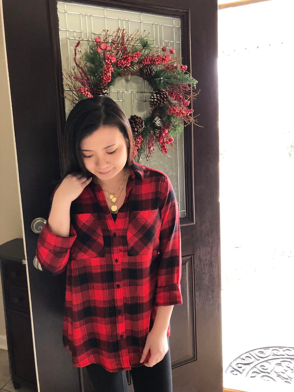 Red Plaid Flannel & Gold Layered Necklace 6