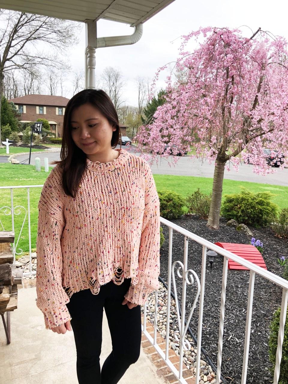 Pink Confetti Distressed Sweater 11