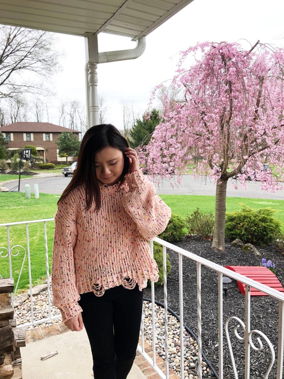 Pink Confetti Distressed Sweater 3