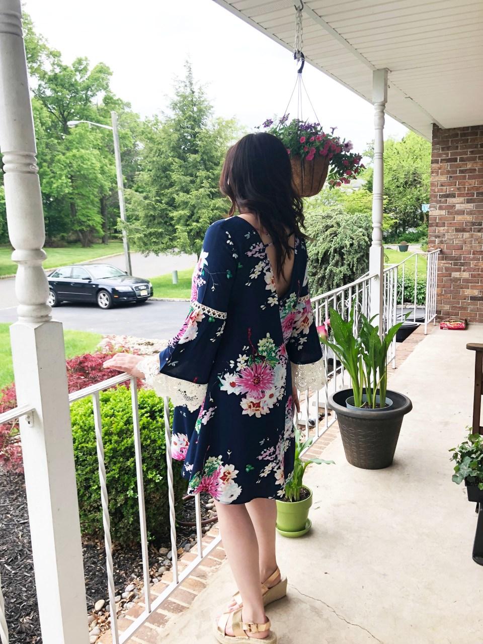 Blue Floral Lace Trim Dress 1