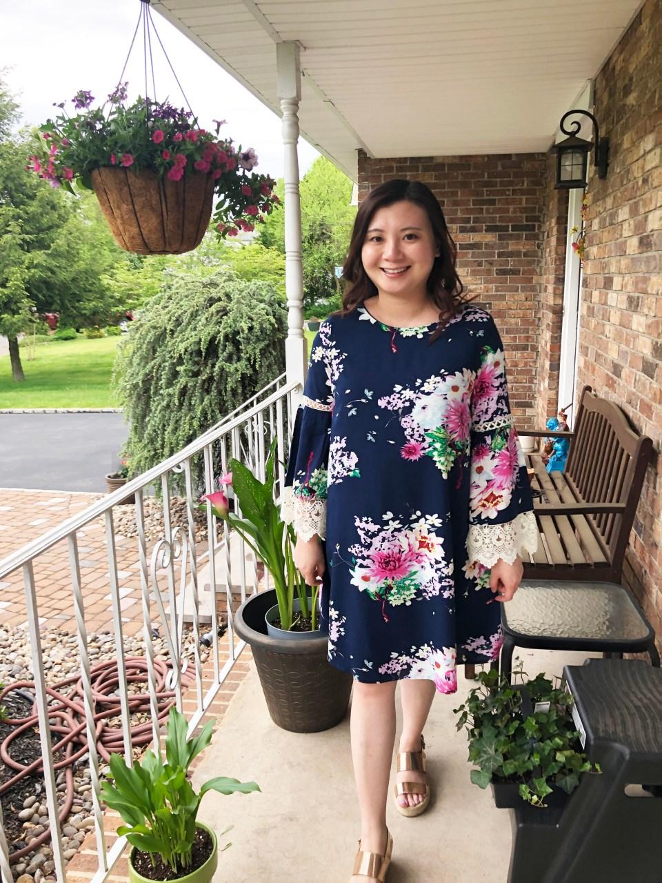 Blue Floral Lace Trim Dress 12