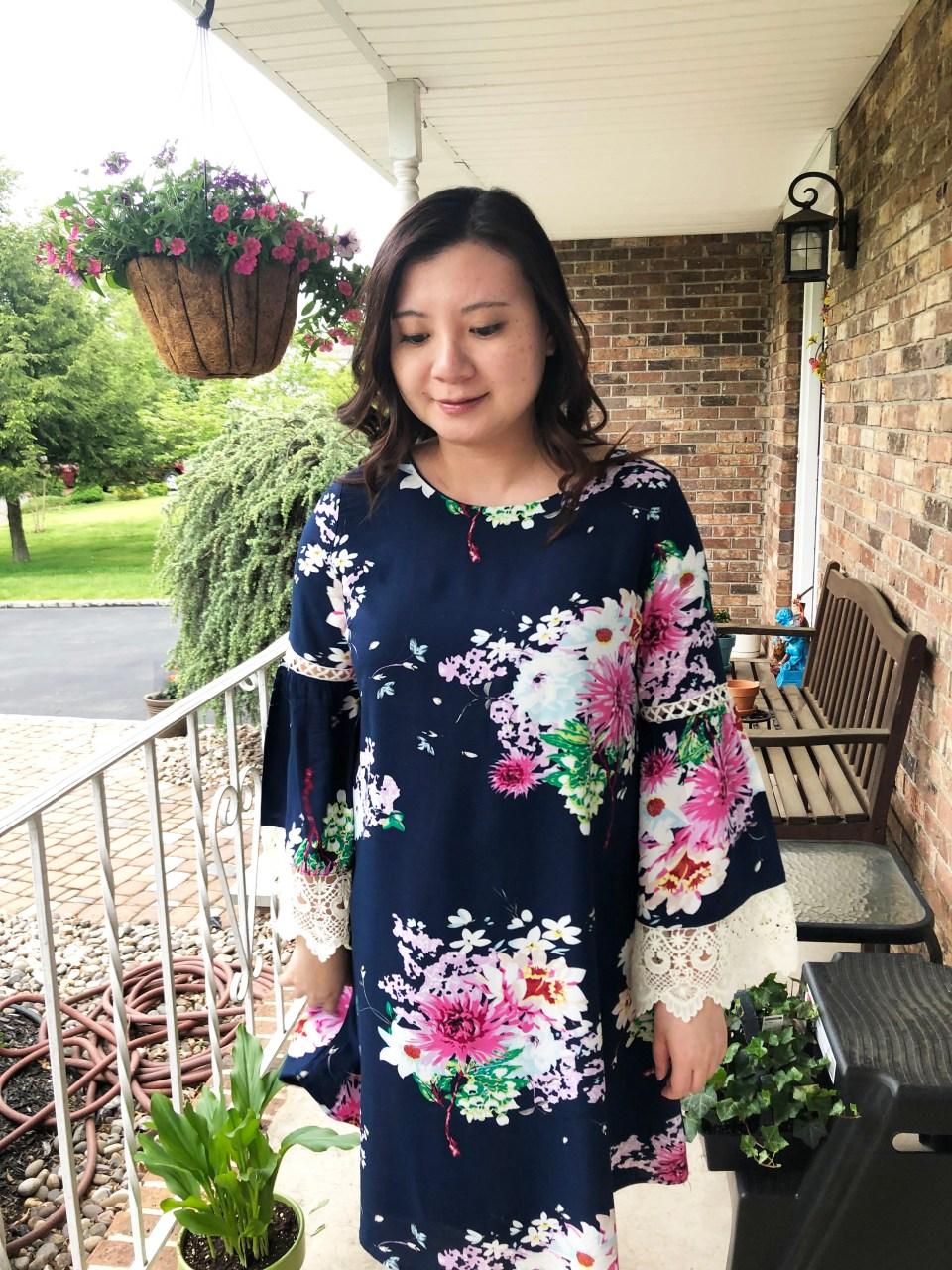 Blue Floral Lace Trim Dress 14