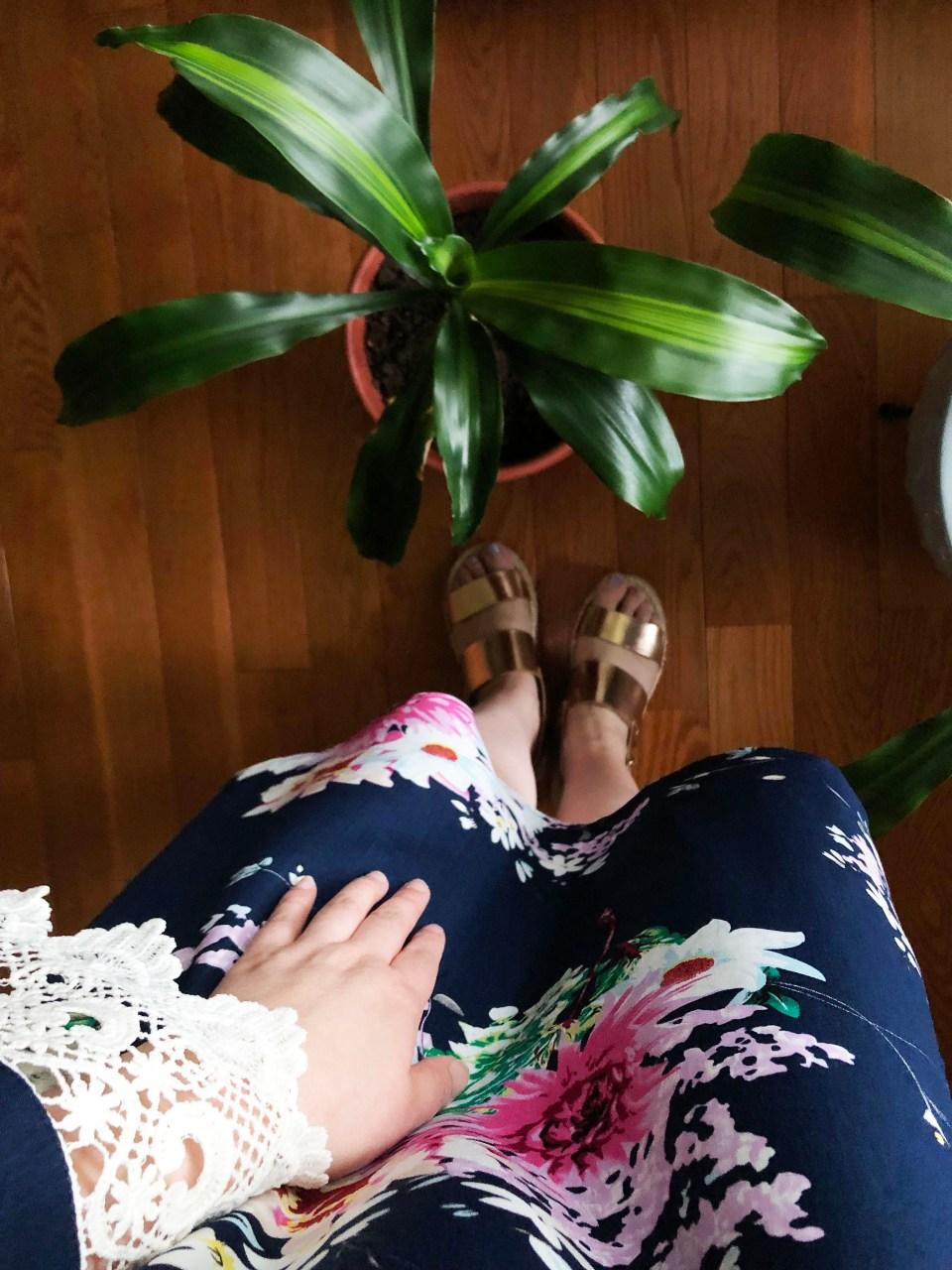 Blue Floral Lace Trim Dress 15