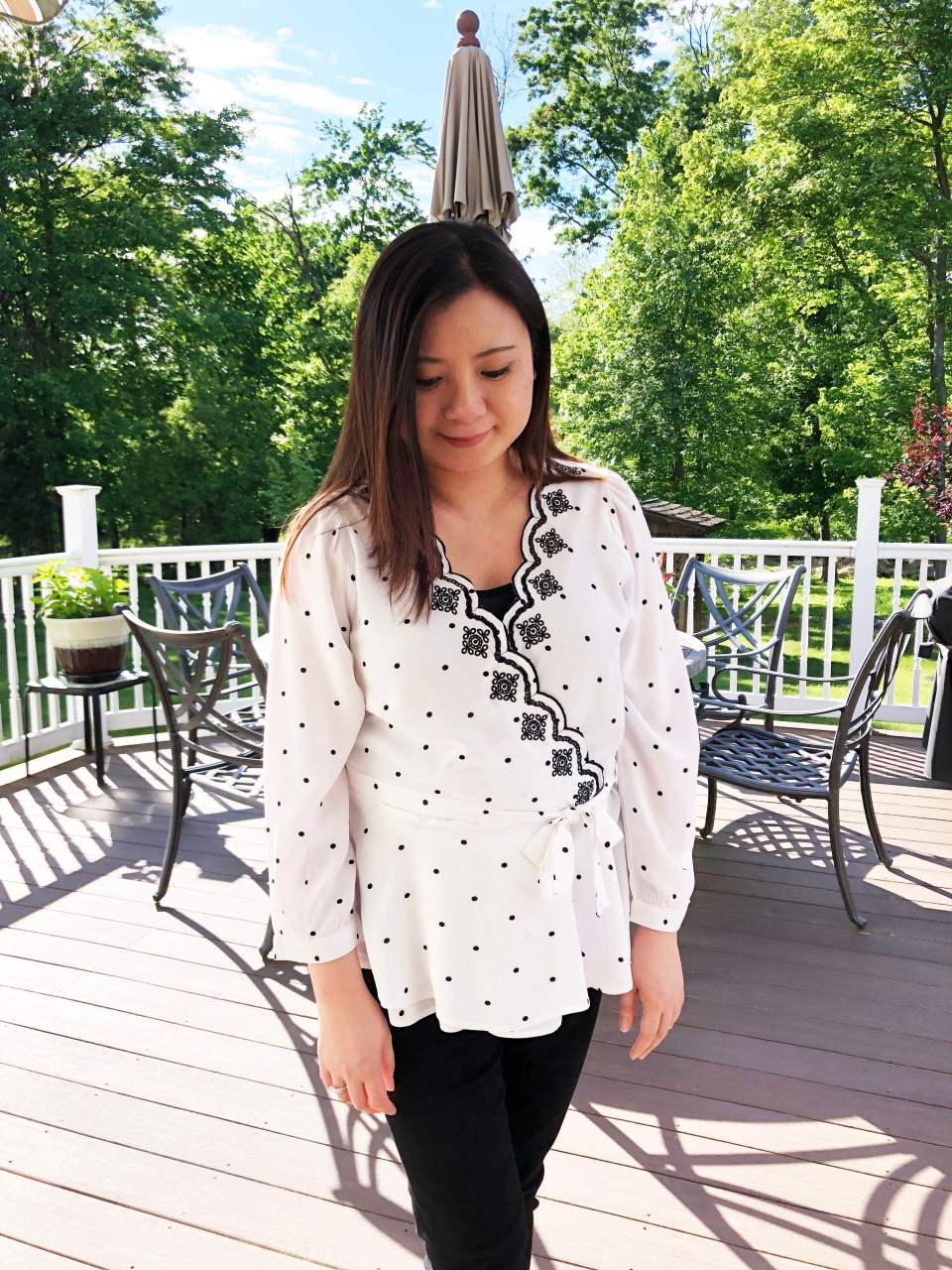 Dotted Scalloped Wrap Top 10
