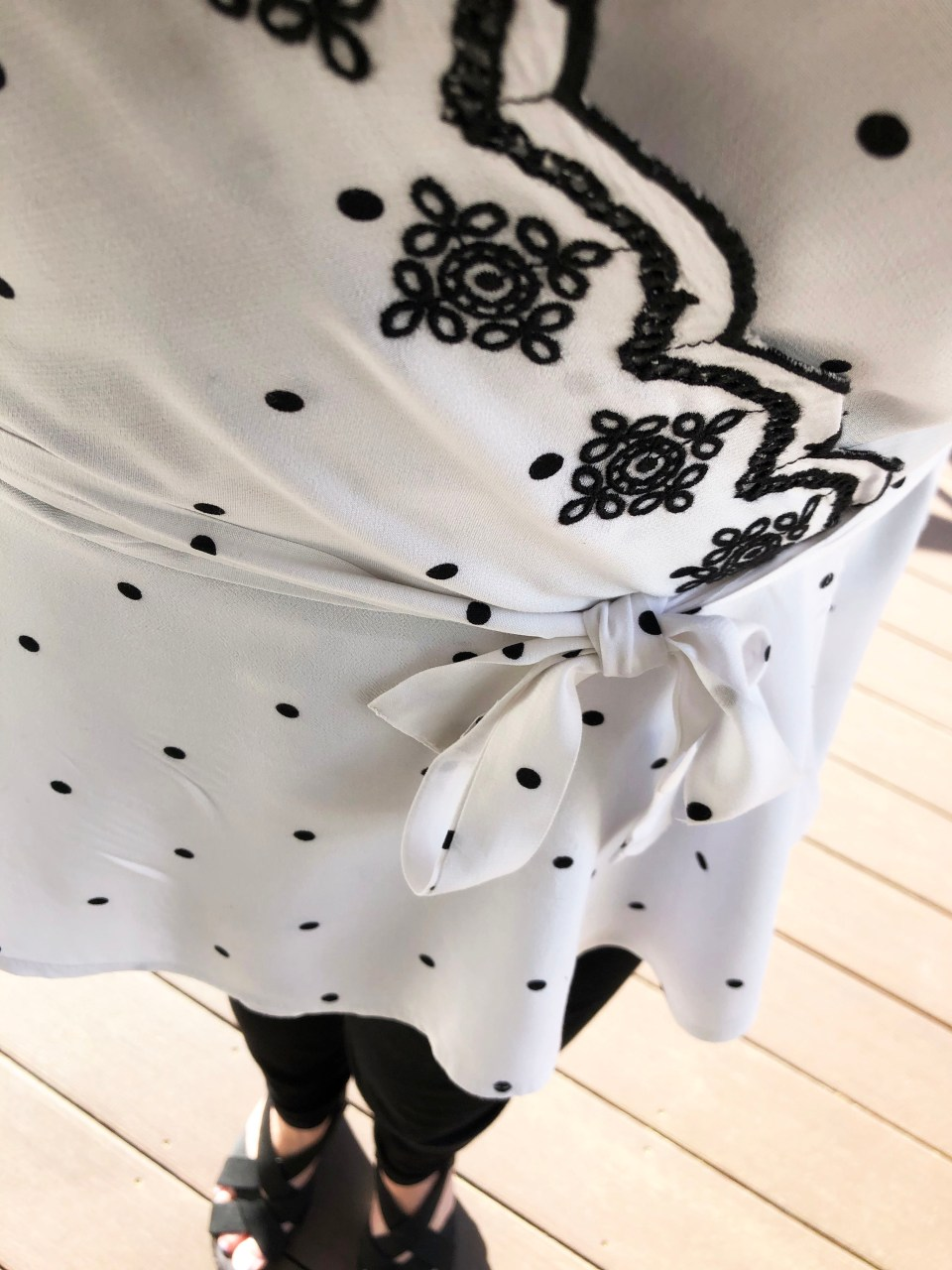 Dotted Scalloped Wrap Top 13