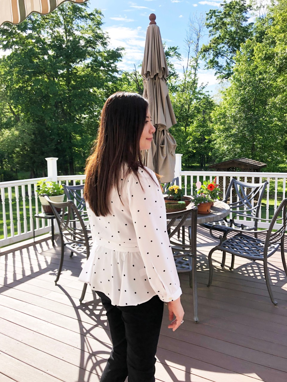 Dotted Scalloped Wrap Top 5