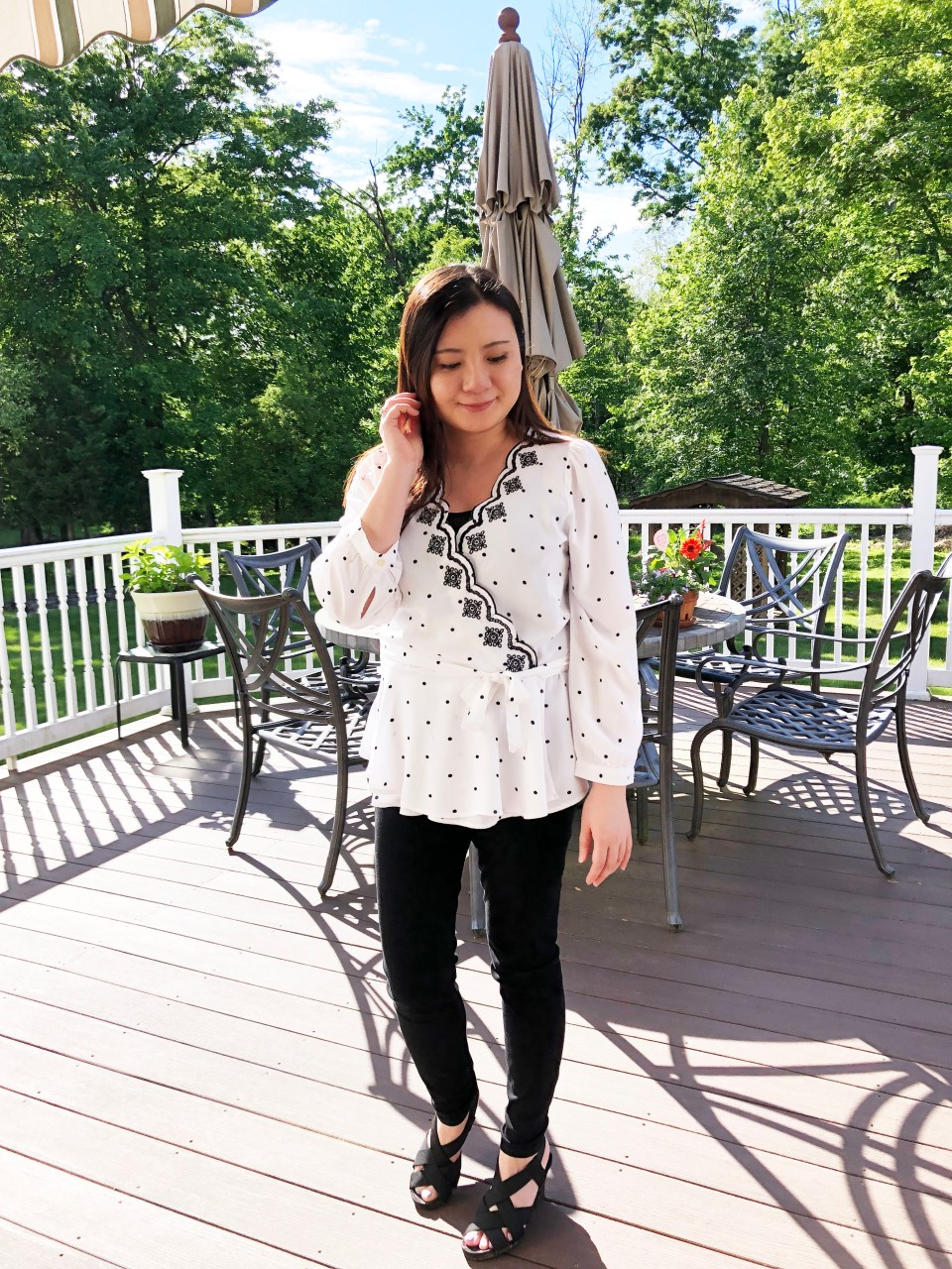 Dotted Scalloped Wrap Top 7