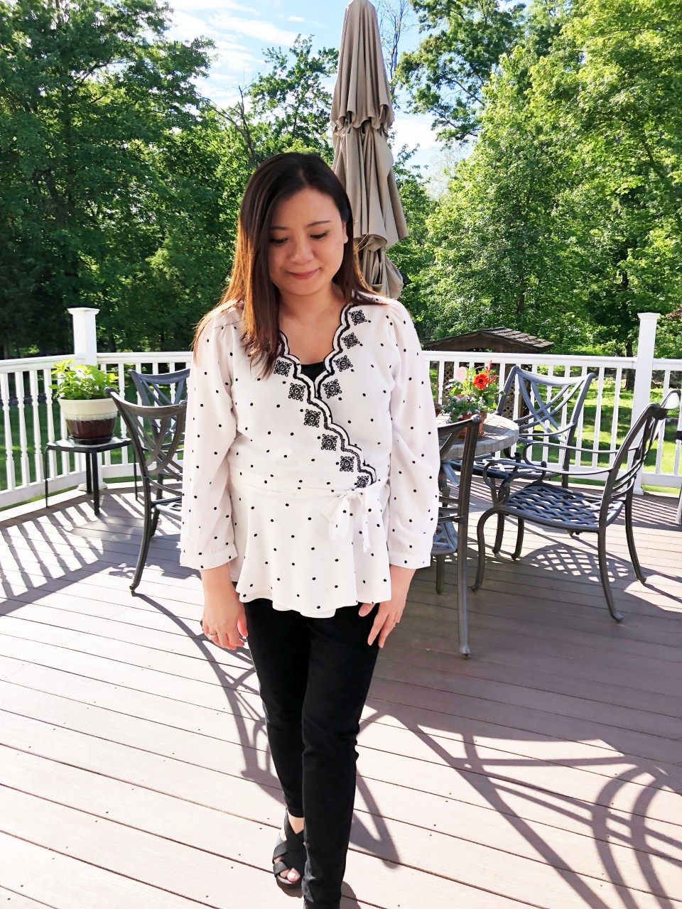Dotted Scalloped Wrap Top 9