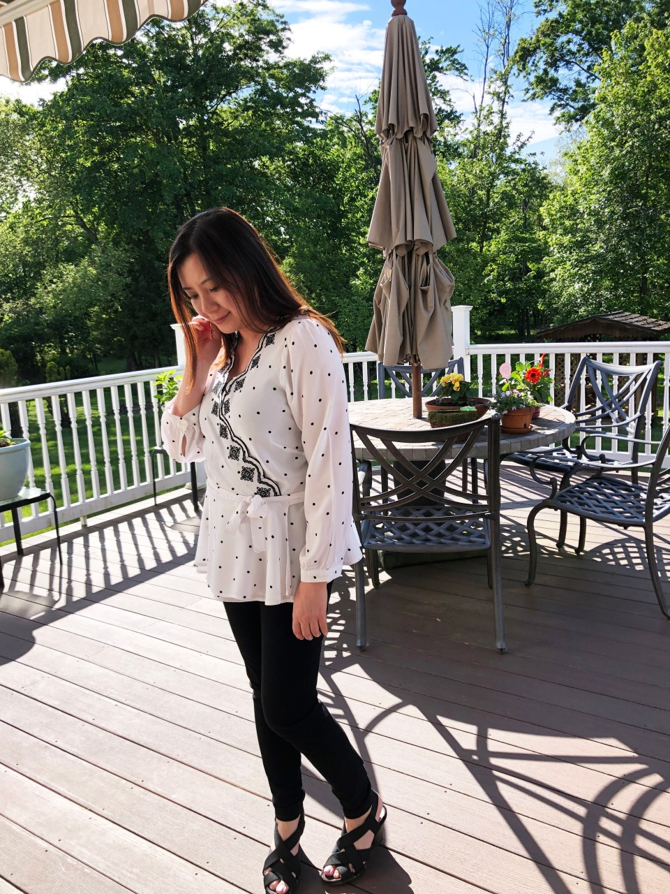 Dotted Scalloped Wrap Top