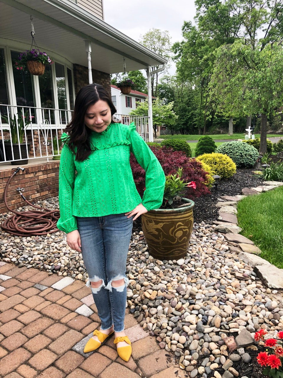 Green Smock Top + Mustard Yellow Mules 1