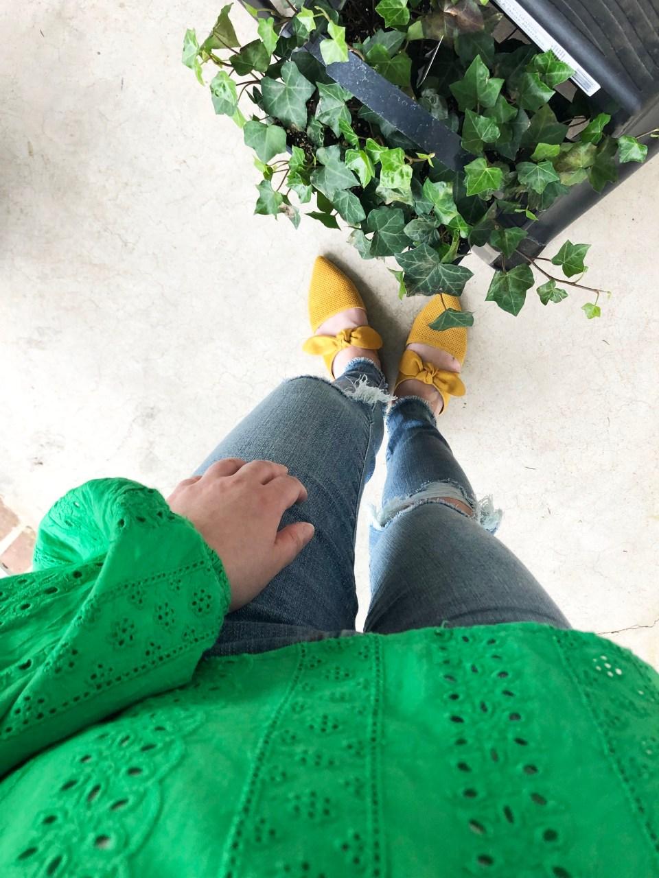 Green Smock Top + Mustard Yellow Mules 7