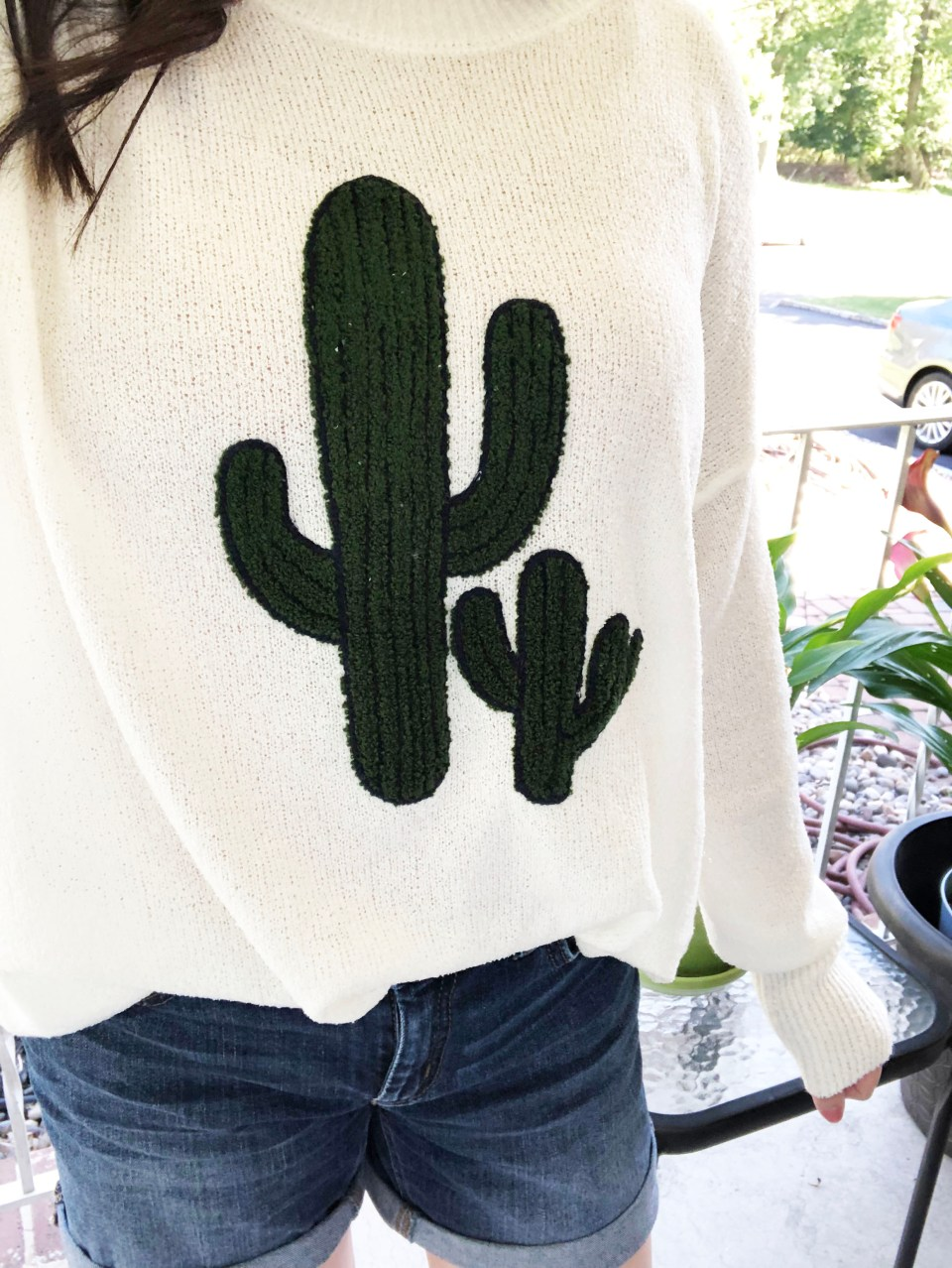 Embroidered Cactus Patch Sweater 16
