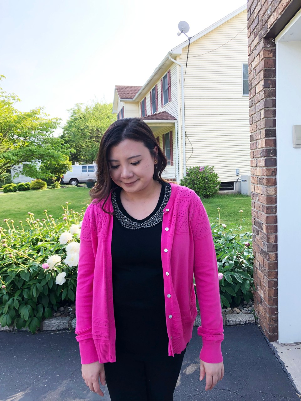 Jeweled Peter Pan Collar + Pink Cardigan 9