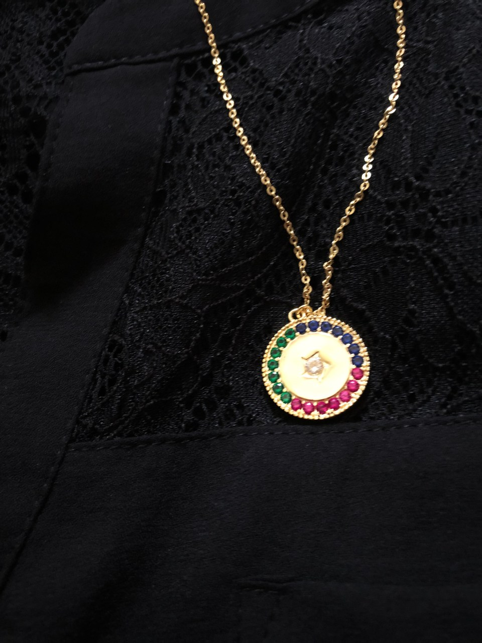 Lace Henley + Multicolor Necklaces 14