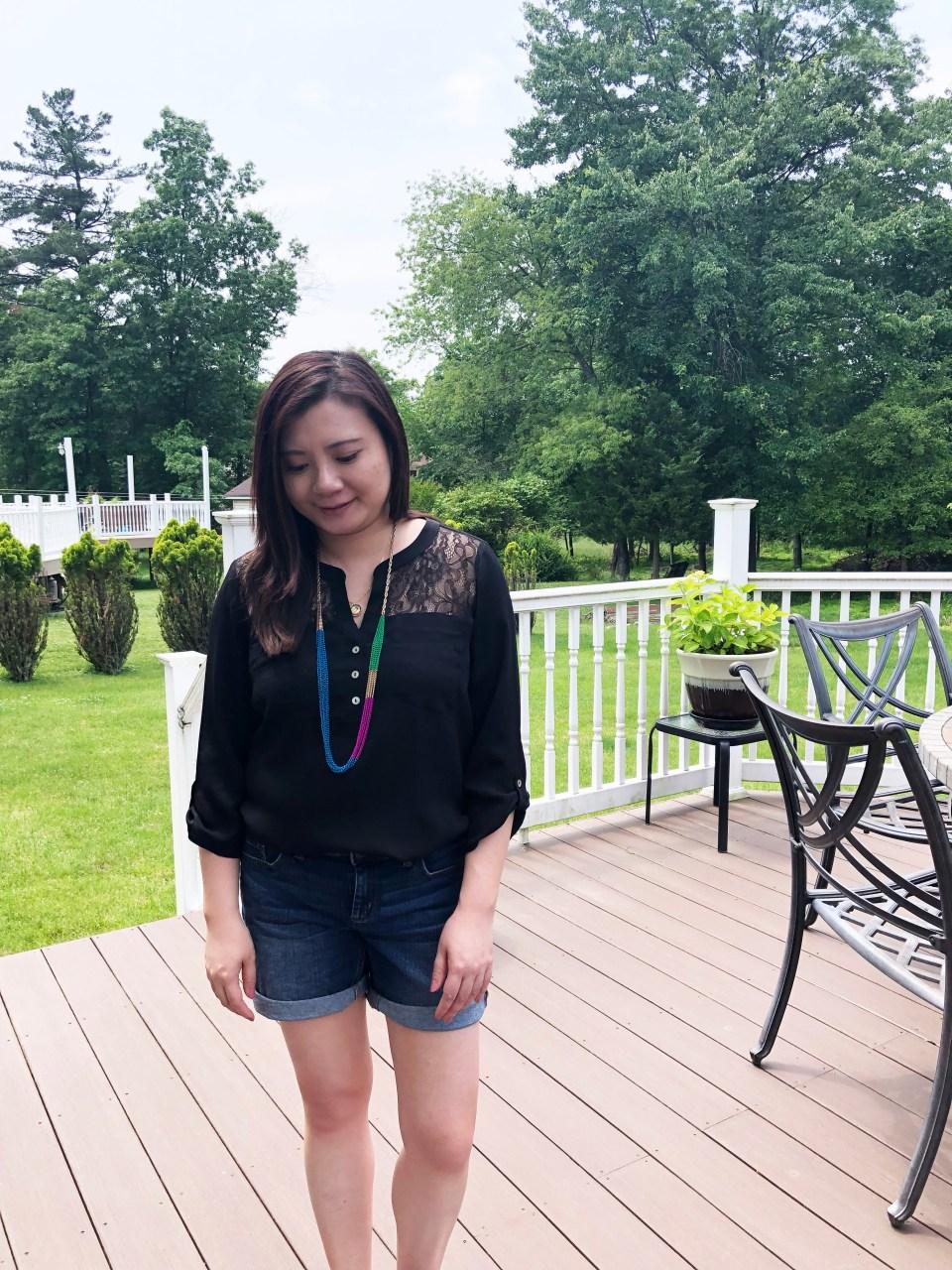 Lace Henley + Multicolor Necklaces 4