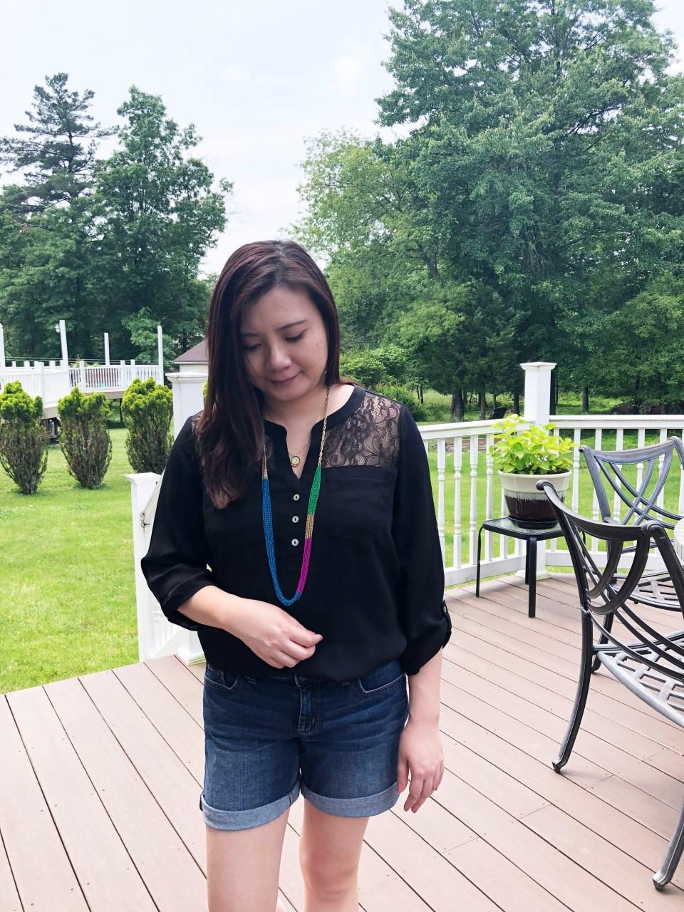 Lace Henley + Multicolor Necklaces 5