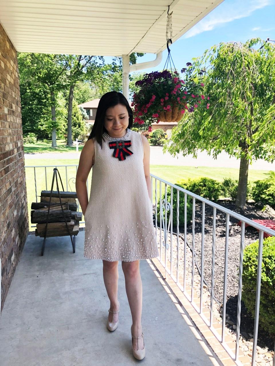 Pearl Embellished Shift Dress 2