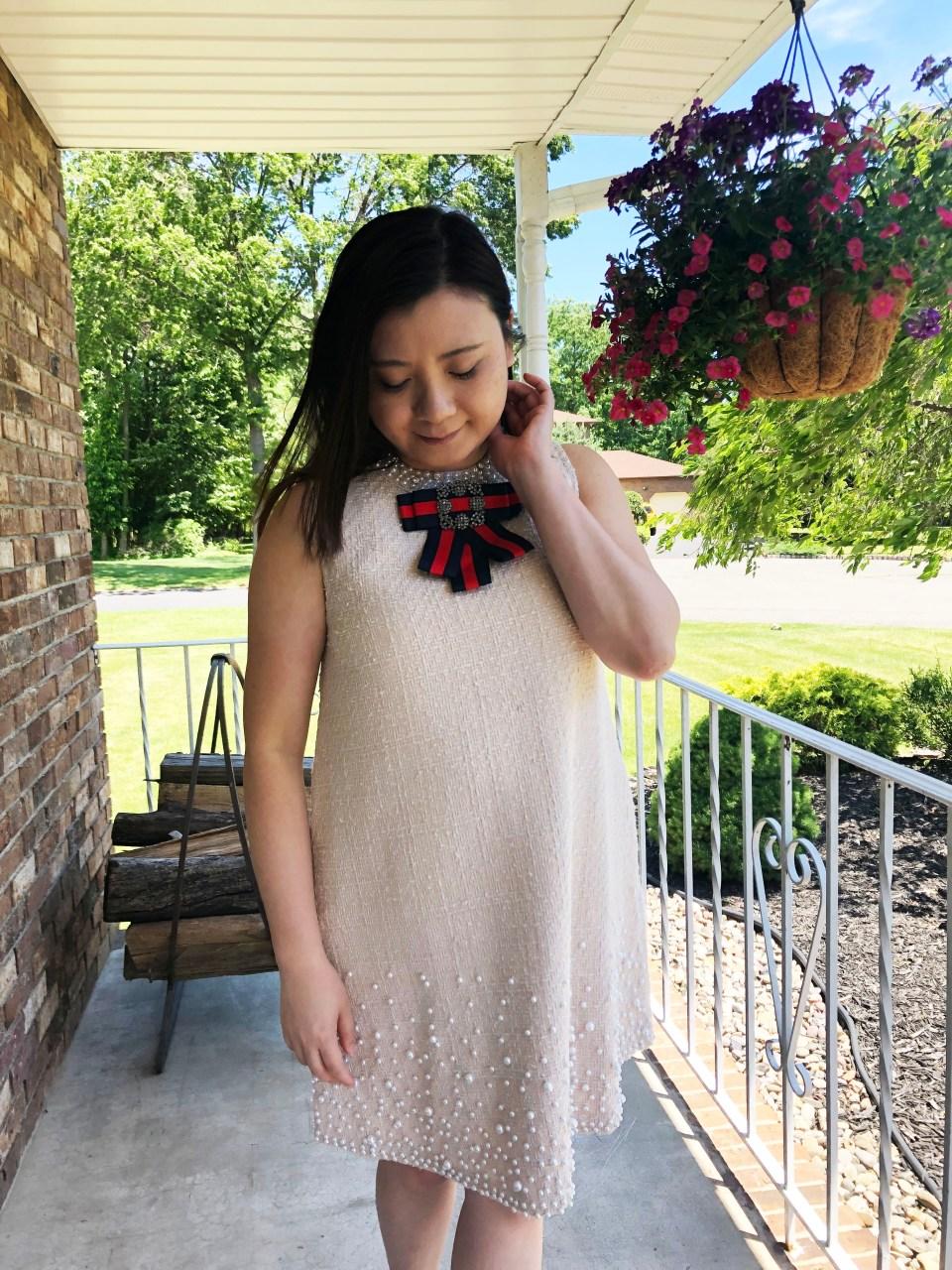 Pearl Embellished Shift Dress 6