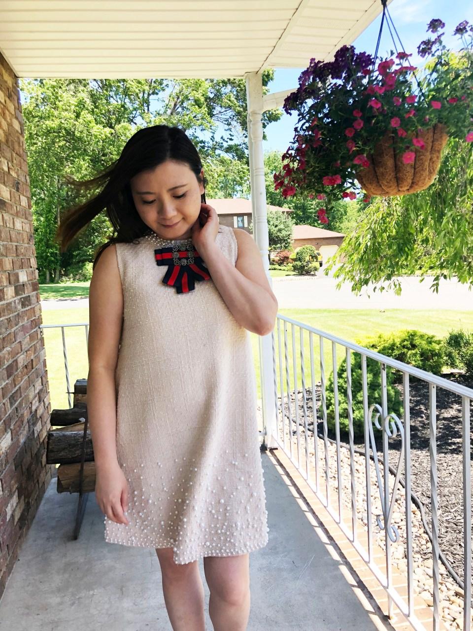 Pearl Embellished Shift Dress 7