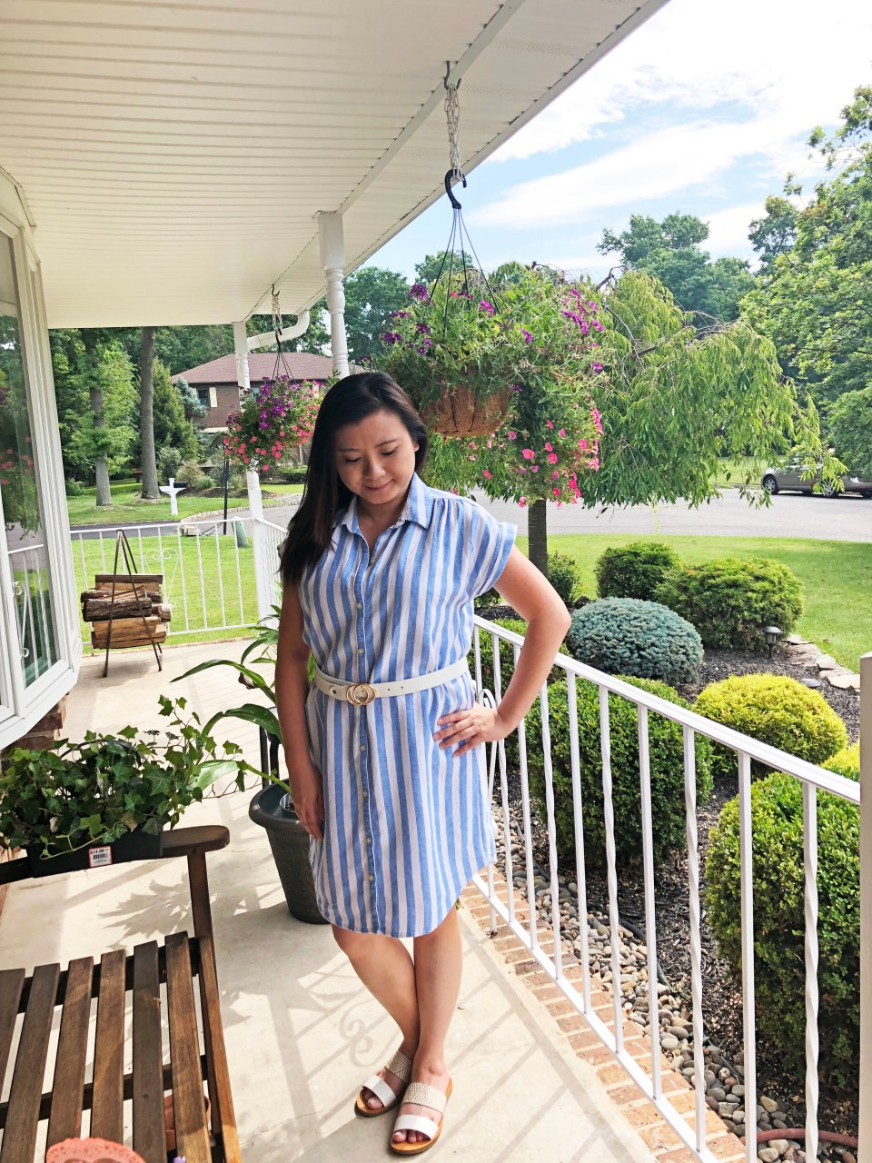 Blue & White Striped Linen Shirt Dress 2
