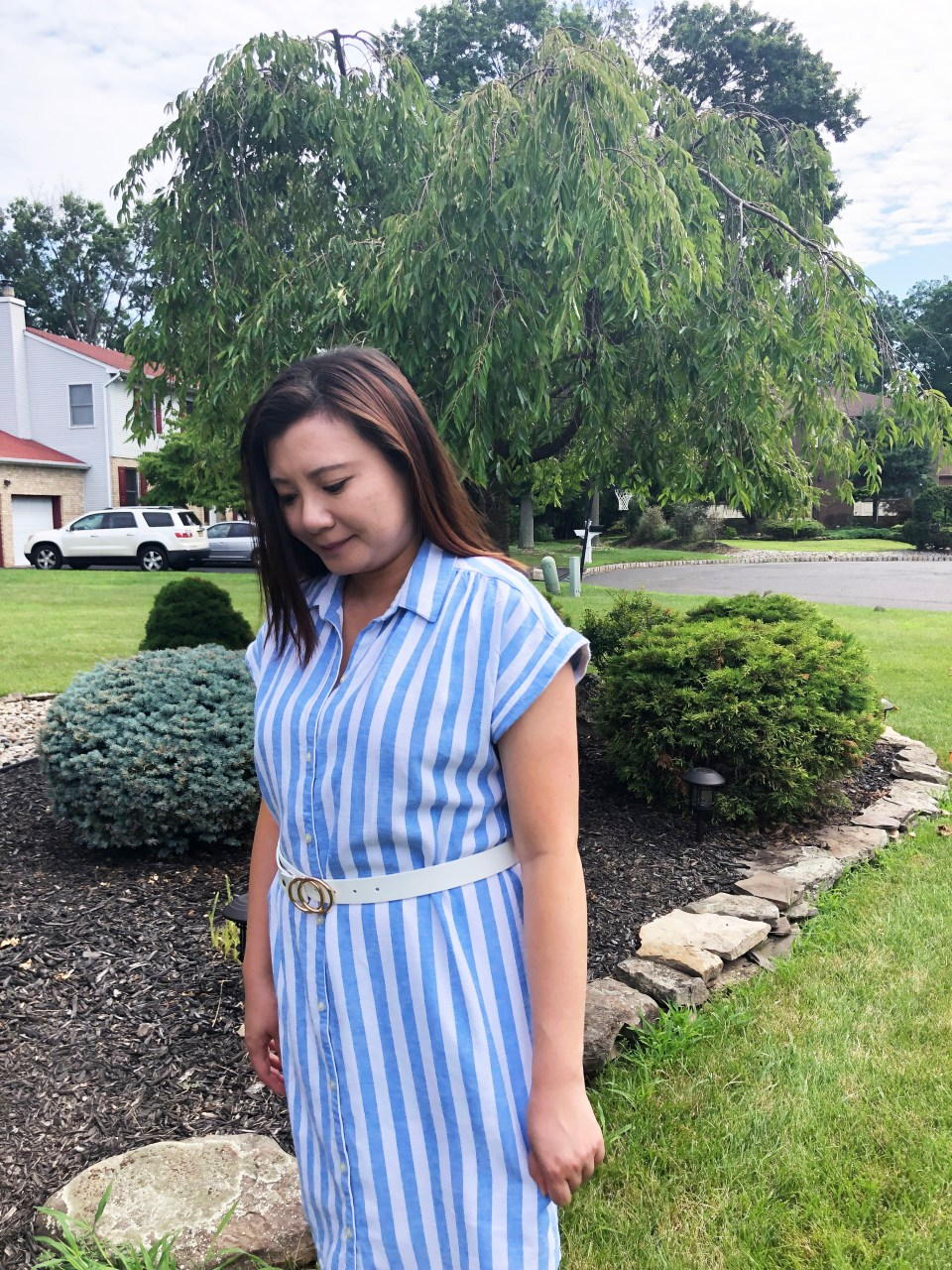 Blue & White Striped Linen Shirt Dress 7