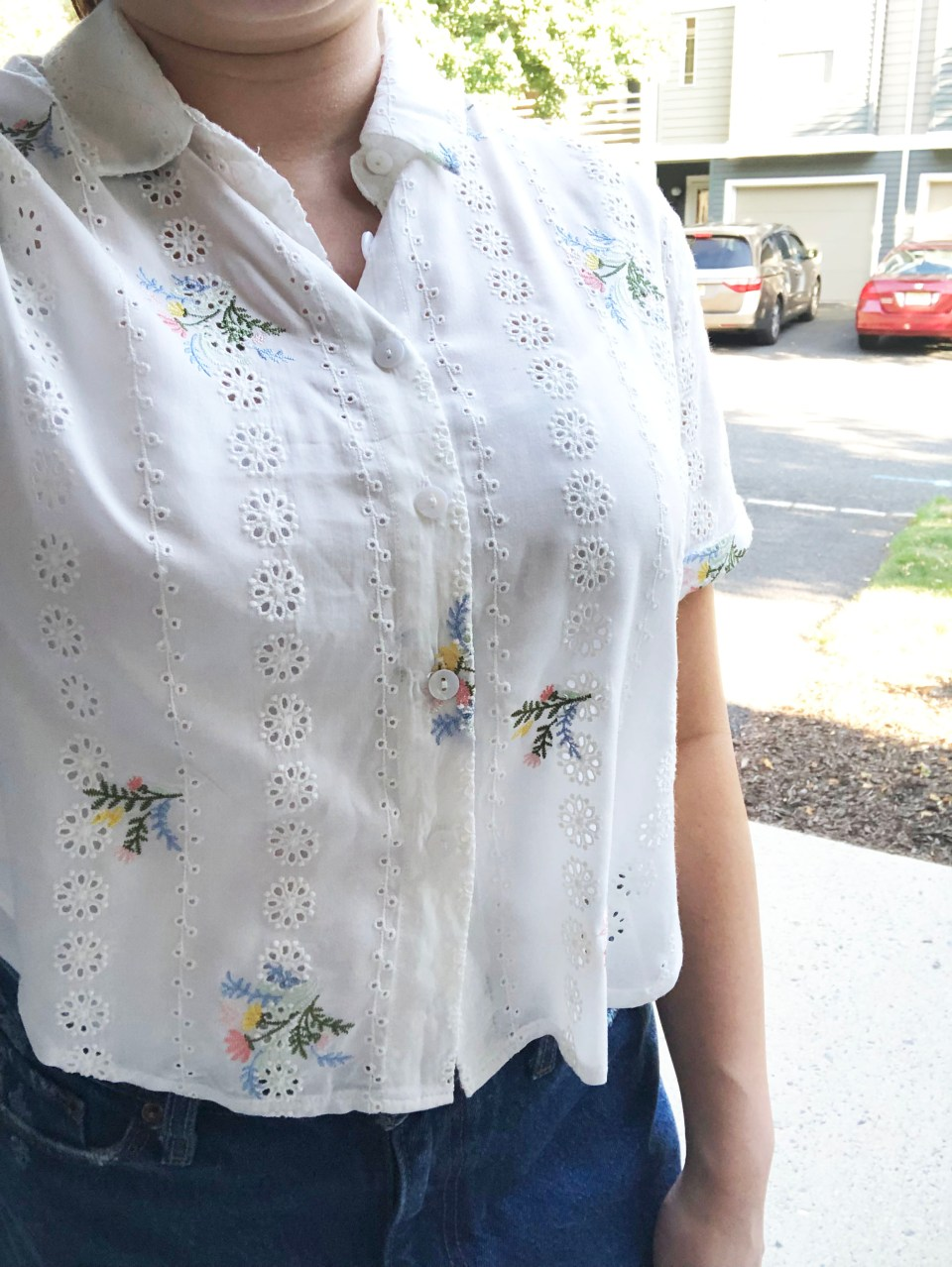 Floral Eyelet Button-Down 14
