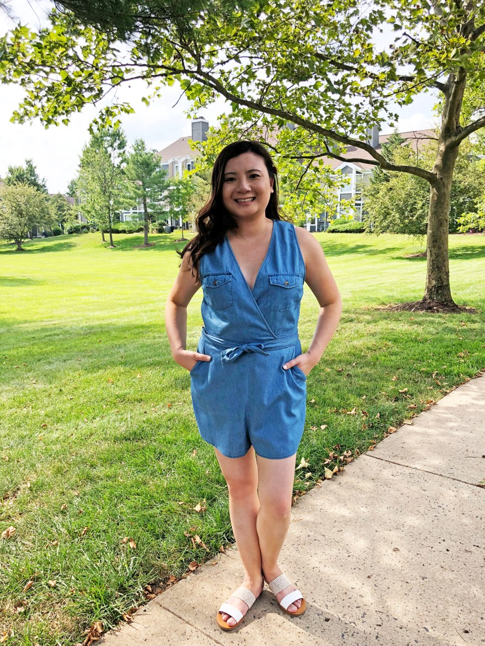 Front Pocket Chambray Romper 9