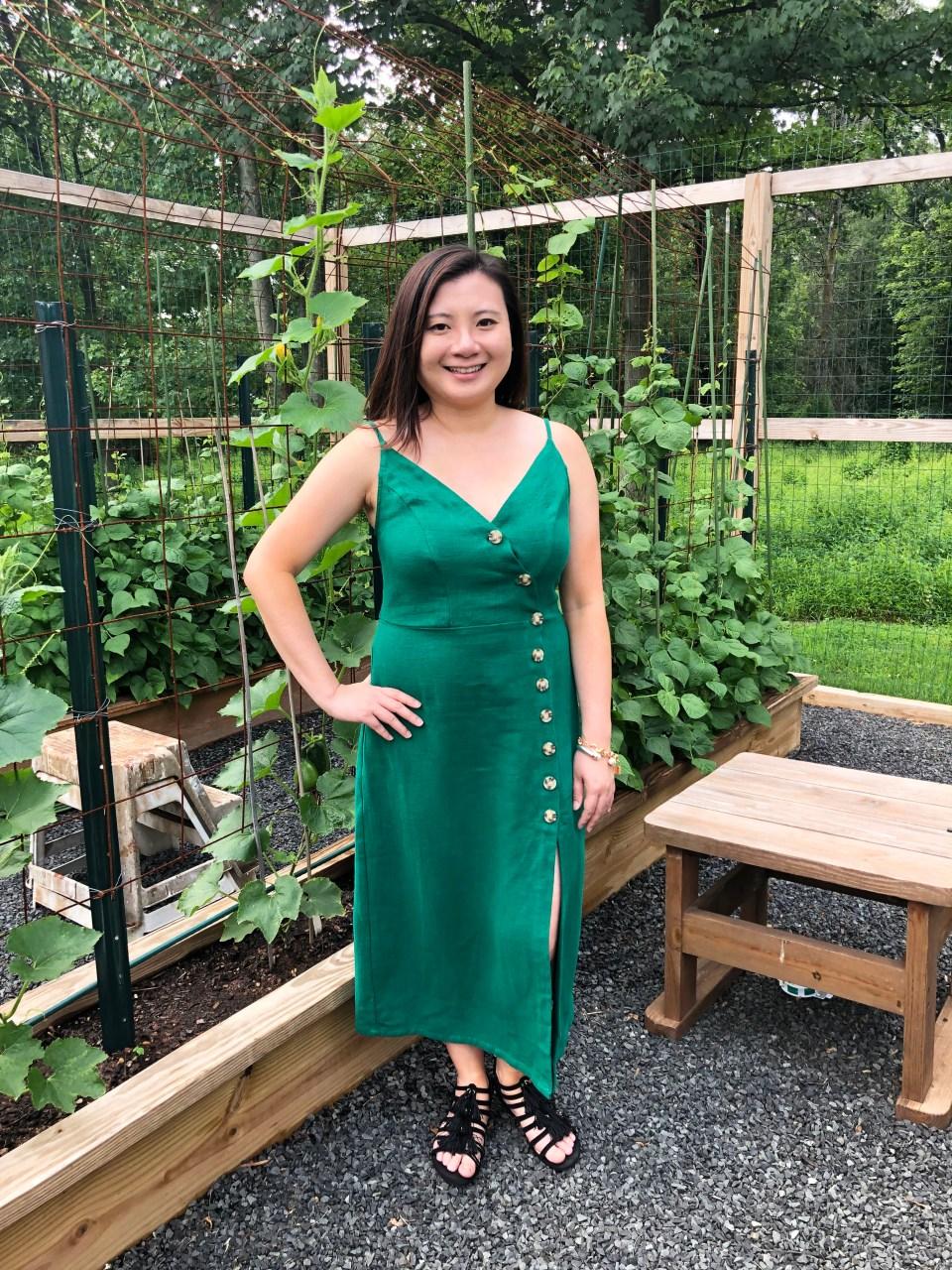 Green Asymmetrical Button Dress 1