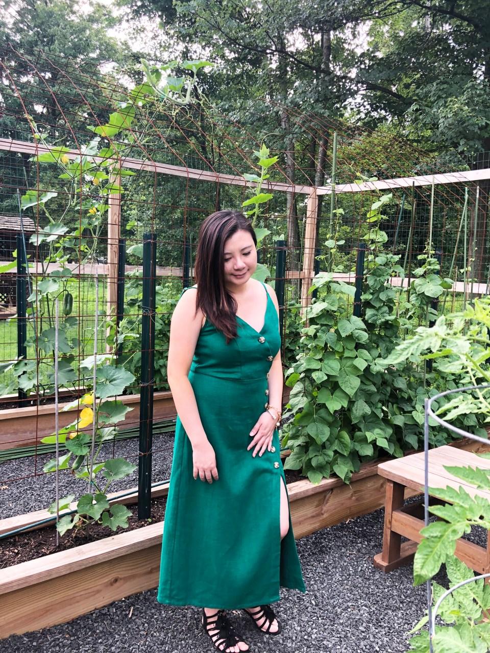 Green Asymmetrical Button Dress 10