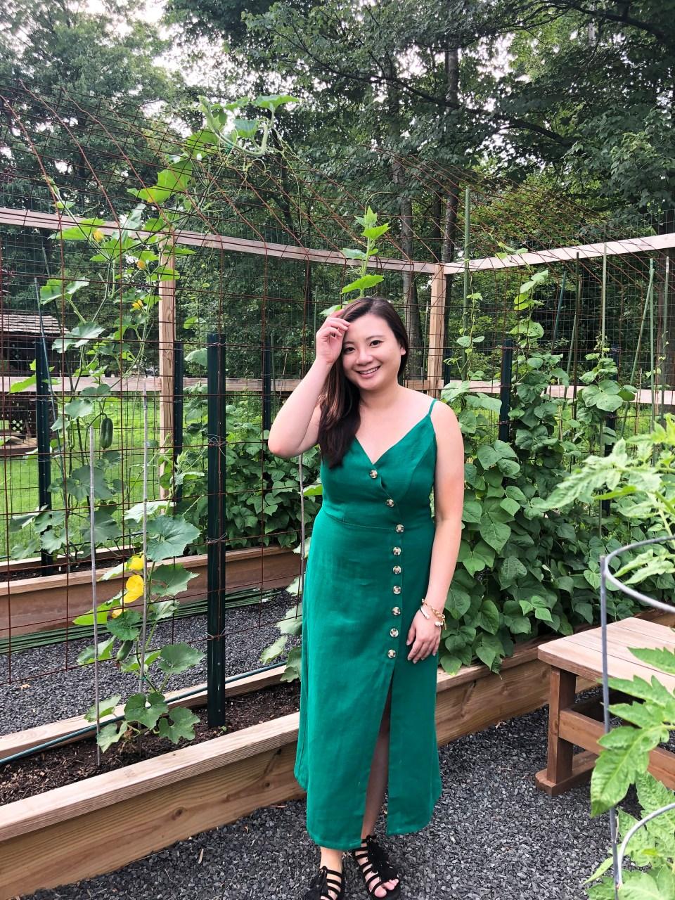 Green Asymmetrical Button Dress 11
