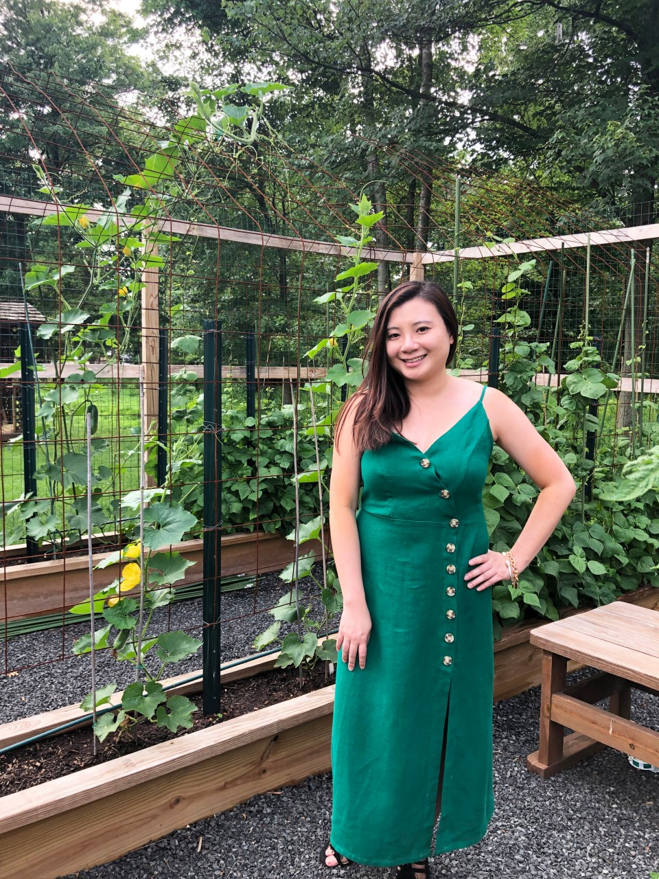 Green Asymmetrical Button Dress 14