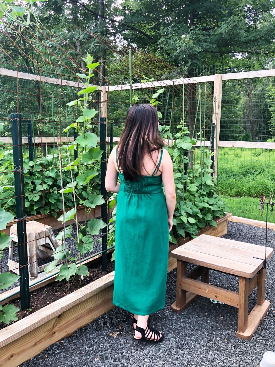 Green Asymmetrical Button Dress 5