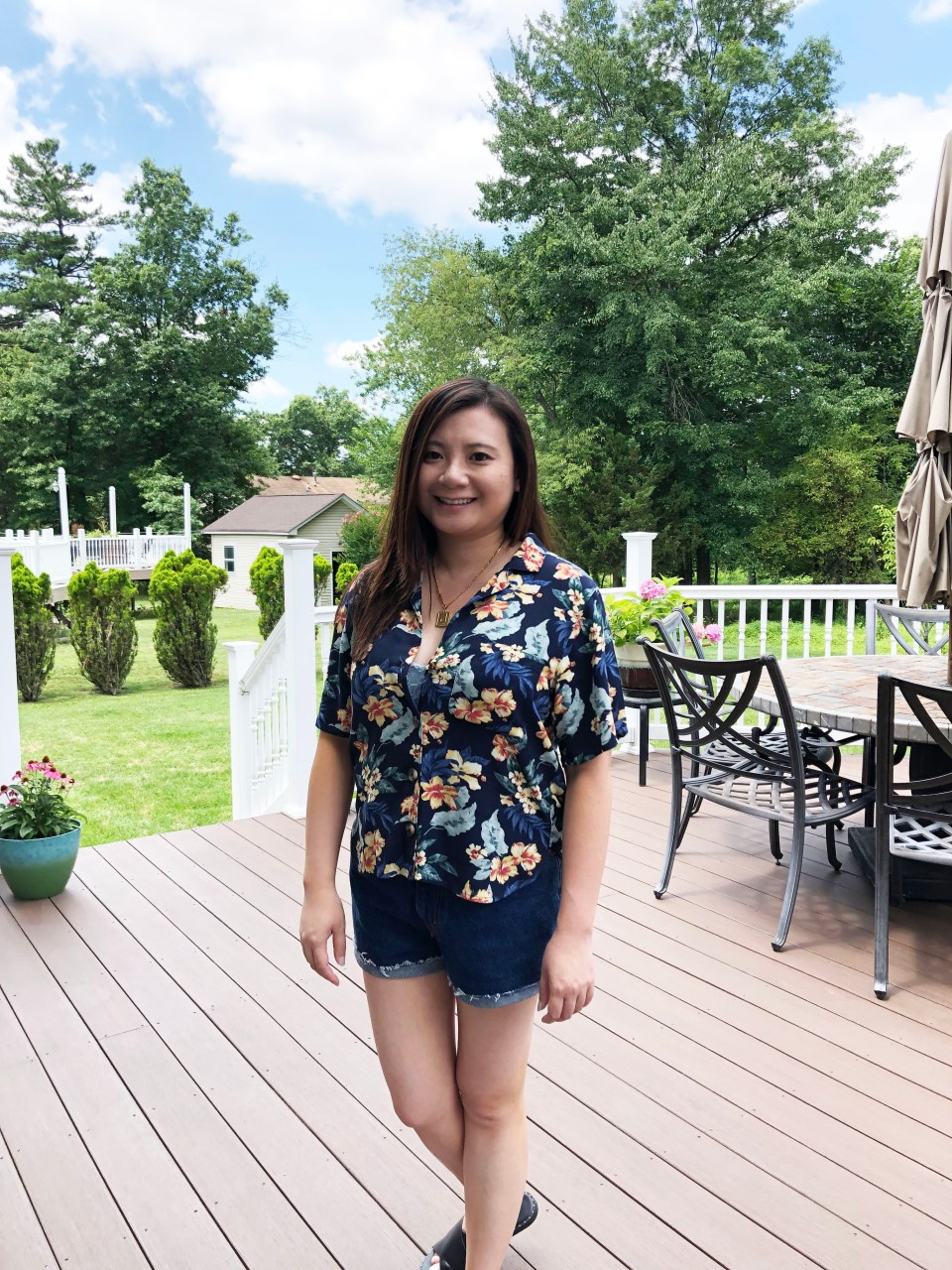 Navy Blue Floral Getaway Shirt 2
